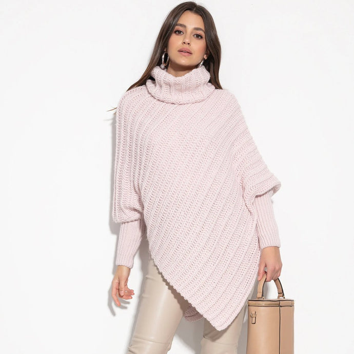 F1127 Roll Neck Wool-Blend Sleeve Poncho In Pink