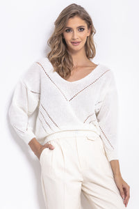 F765 Openwork Knit Jumper In Ecru