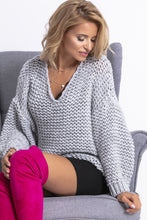 F774 Chunky Knit Oversized Sweater In Grey