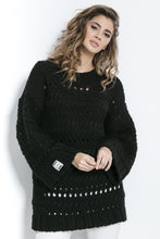 F862 Chunky Knit Long Jumper In Black