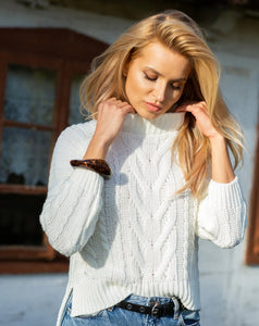 F1114 High Neck Aran Knit Sweater In Ecru