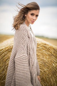 F756 Chunky Knit Longline Cardigan In Brown