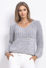 F760 Chunky Knit Oversized Jumper In Grey