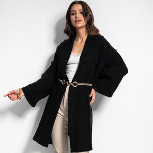 F1083 Oversized Longline Knit Cardigan With Wide Sleeve In Black