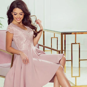300-1 High-Low Lace Bodice Dress In Dusty Pink