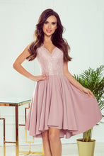 300-1 Dusty Pink High-Low Lace Bodice Midi Dress