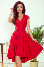300-2 Red High-Low Lace Bodice Midi Dress