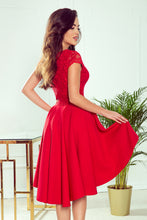 300-2 High-Low Lace Bodice Dress In Red