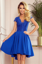 300-3 Royal Blue High-Low Lace Bodice Midi Dress