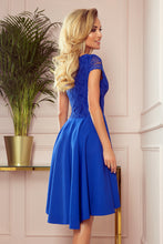 300-3 High-Low Lace Bodice Dress In Royal Blue