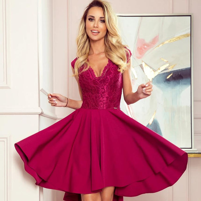 300-4 High-Low Lace Bodice Dress In Burgundy