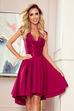 300-4 Burgundy High-Low Lace Bodice Midi Dress