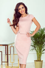 301-1 Belted Pencil Midi Dress In Powder Pink