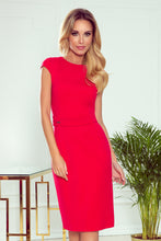 301-2 Belted Midi Dress In Red