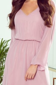 304-1 Chiffon Ruffled Midi Dress In Dusty Pink