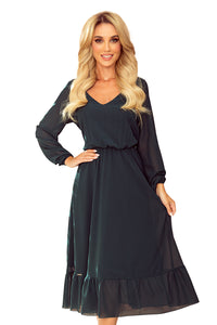 304-2 Chiffon Ruffled Midi Dress In Bottle Green