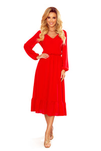 304-3 Chiffon Ruffled Midi Dress In Red