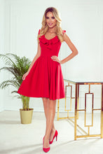 307-1 Fit & Flare Mini Dress with Frill In Red