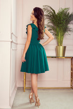 307-2 Fit & Flare Mini Dress with Frill In Bottle Green