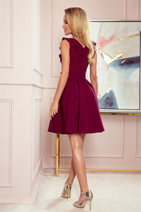 307-3 Fit & Flare Mini Dress with Frill In Burgundy