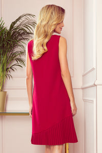 308-2 Pleat Hem Trapeze Dress In Red