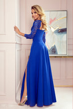 309-2 Cut-Out Back Maxi Dress with Lace Bodice In Royal Blue