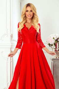 309-3 Cut-Out Back Maxi Dress with Lace Bodice In Red