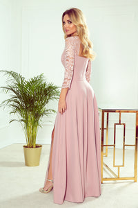 309-4 Cut-Out Back Maxi Dress with Lace Bodice In Dusty Pink