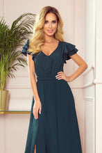 310-1 Slit Maxi Dress In Bottle Green