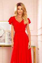 310-2 Slit Maxi Dress In Red