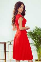 311-1 Pleated Belted Midi Dress In Red
