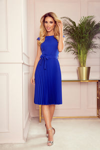 311-2 Pleated Belted Midi Dress In Royal Blue