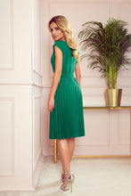 311-3 Pleated Belted Midi Dress In Green