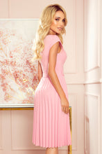 311-7 Pleated Belted Midi Dress In Pink