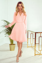 313-2 Chiffon Pleated Midi Dress In Peach