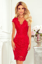 316-1 Lace Bodycon Mini Dress In Red