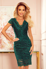 316-3 Lace Bodycon Mini Dress In Green