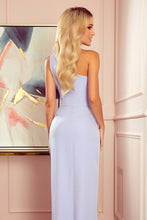 317-2 One Shoulder Maxi Dress In Light Purple
