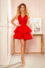 321-1 Lace Bodice Fit & Flare Mini Dress In Red