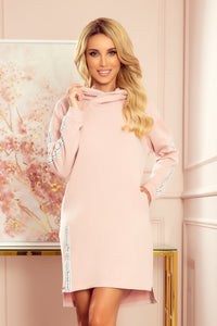 322-2 Cotton Hooded Long Sweatshirt/Tunic In Pink