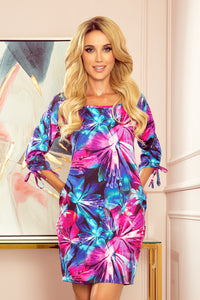 323-1 Floral Print Shift Mini Dress with Pockets In Blue/Pink