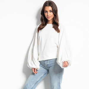 F1086 Sweatshirt With Wide Sleeve In Ecru