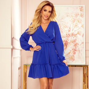 329-1 Chiffon Ruffled Mini Dress In Royal Blue