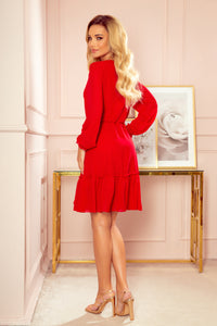 329-2 Chiffon Ruffled Mini Dress In Red
