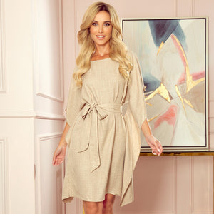 287-10 Butterfly Style Belted Mini Dress in Beige