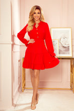 332-2 Ruffled Buttoned Mini Dress In Red