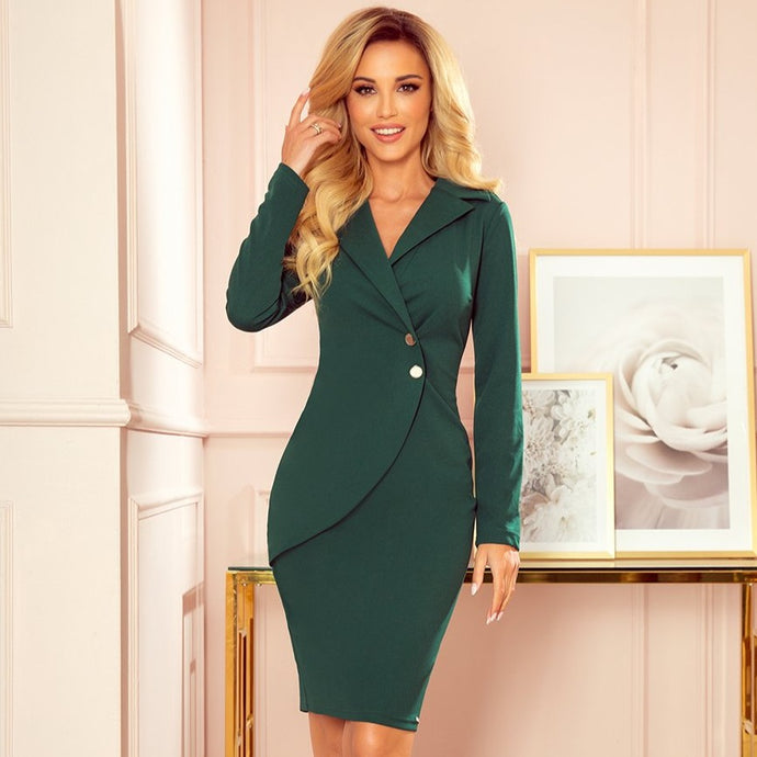 340-1 Wrap-Effect Mini Dress In Green