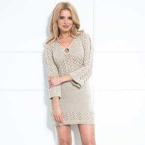 F981 Knitted Body-con Mini Dress In Beige