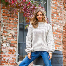 F810 Chunky Knit Jumper In Beige Melange