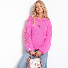 F1054 Oversized Chunky Knit Alpaca-Blend Jumper In Pink